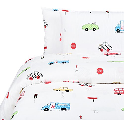 MEJU Cars Bus Truck Kids Muslin Duvet Cover Set with Zipper Closure for Boys Girls Full/Queen Bedding Decoration Gift, Double Layer Muslin 100% Cotton, Duvet Cover + Pillowcase (1, Full/Queen)