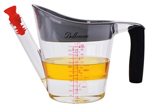 Bellemain 4-Cup Fat Separator / Measuring Cup with Strainer & Fat Stopper / 1 Liter Capacity