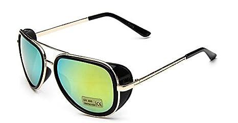 Izusa - Gafas de sol para hombre, diseño de Iron Man 3, espejadas, estilo vintage, azul y negro: Amazon.es: Deportes y aire libre