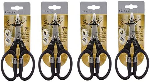 TONIC STUDIOS Tim Holtz 817 Kushgrip Non Stick Micro Serrated Snips, 7 F ur Pa k