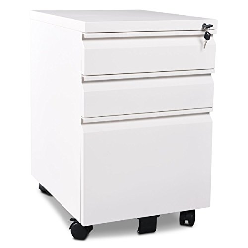 DEVAISE 3-Drawer Metal Mobile File Cabinet with Lock, Fully Assembled Except Casters, White by DEVAISE