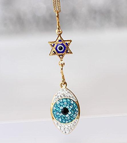 Evil Eye Necklace, Jewish Jewelry, Swarovski Pendant, Israeli Designer,Star Of David Charms,Gold Magen David For Women Jewelry,New Year Gift