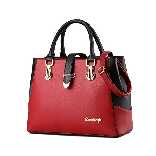 Rojo capacidad bolso de las de PU Nuevos bolso grande de bolso del bolsos cartera mensajero la manera cuero Tisdaini femenino de de señoras la la Y6SfBwnqn