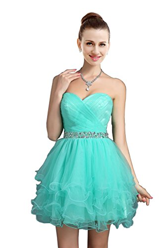 VaniaDress Women Crystals Tulle Short Homecoming Evening Dress V021LF Turquoise US8 from VaniaDress