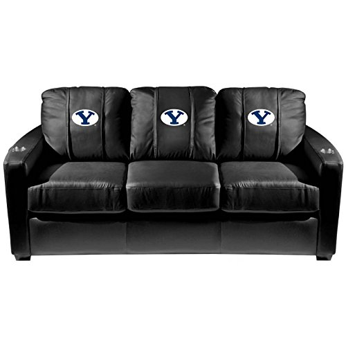 XZipit College Silver Sofa with BYU Cougars Logo Panel, Black