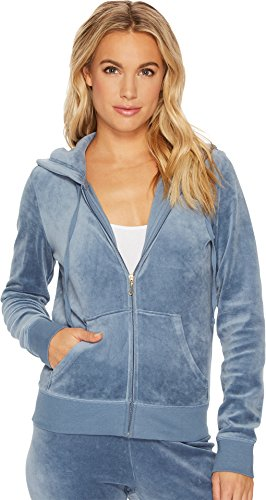 Juicy Couture Women's Robertson Velour Jacket Dusty Navy Petite / X-Small ()