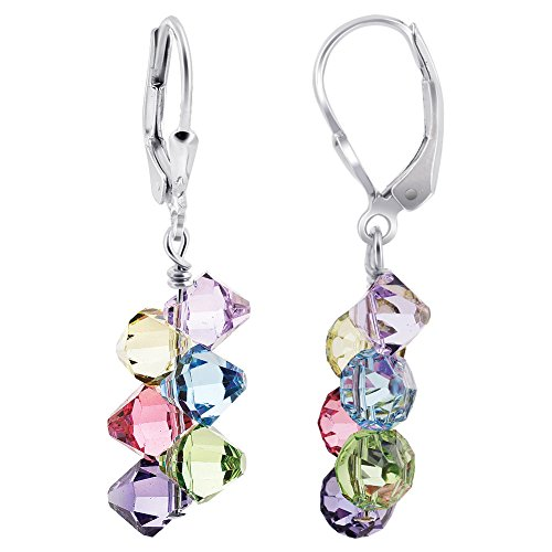 Gem Avenue 925 Sterling Silver Cluster Swarovski Elements Multicolor Crystal Leverback Handmade Drop Earrings for Women