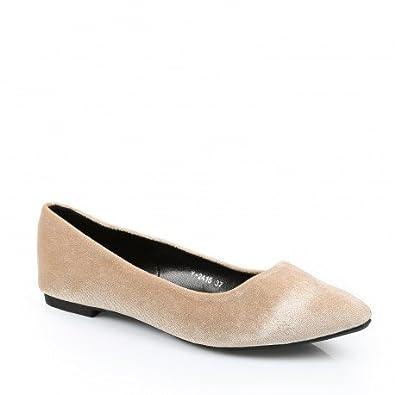 size 40 903bc 41d37 Ideal Shoes – Ballerinas Spitz Effekt Wildleder mailyne ...