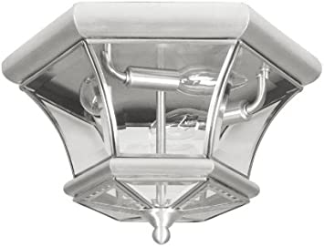 Livex Lighting 7053 91 Monterey 3 Light Outdoor Indoor Brushed Nickel Finish Solid Brass Flush Mount With Clear Beveled Glass Close To Ceiling Light Fixtures Amazon Com