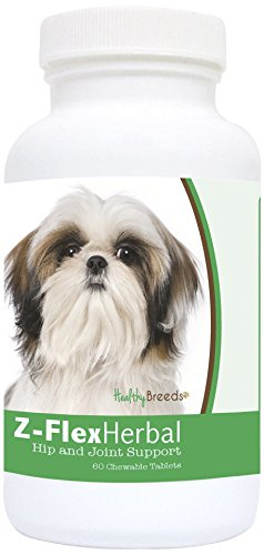 Healthy Breeds Z-Flex Dog Herbal Hip and Joint Support Chews for Shih Tzu – Over 80 Breeds – Natural Glucosamine Supplement - 60 Treat Chewables – Helps Pain Relief and Dysplasia (Bone Shih Tzu)