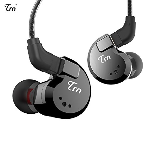 TRN V80 2BA+2DD Quad Driver Hybrid HiFi Metal in Ear Earphone IEM with 2 Pin Detachable Cable, 1.25m (Without Mic, Black)