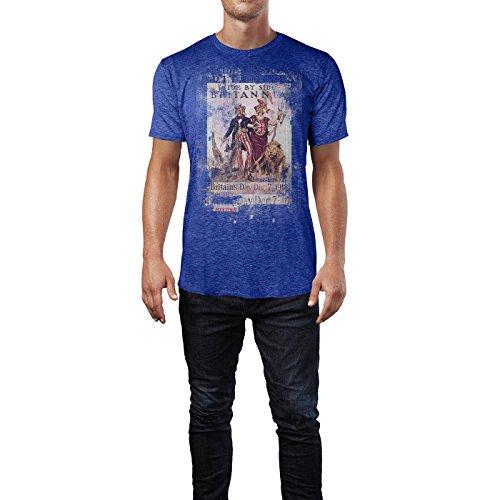 SINUS ART® Britannia Herren T-Shirts stilvolles blaues Cooles Fun Shirt mit tollen Aufdruck