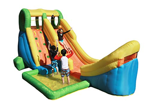 Sportspower Inflatable Half Pipe Outdoor Water Slide with Splash Pool, Climbing Wall, Sprinkler, and Basketball System for Kids