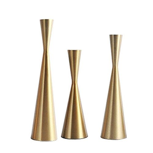 Set of 3 Brass Gold Metal Taper Candle Holders Candlestick Holders, Vintage & Modern Decorative Centerpiece Candlestick Holders for Table Mantel Wedding Housewarming Gift (Brass Golden, S+M+L/SET)