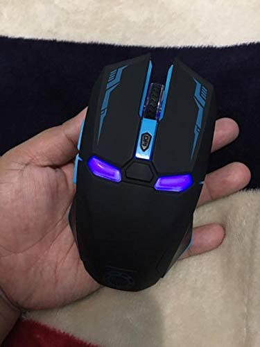 Black HAMISS LED Man Wireless Mouse Gaming Ergonomic Gamer Mute Button Silent Optical Click 6 Buttons 1600 DPI Computer Mice for Laptop PC Desktop