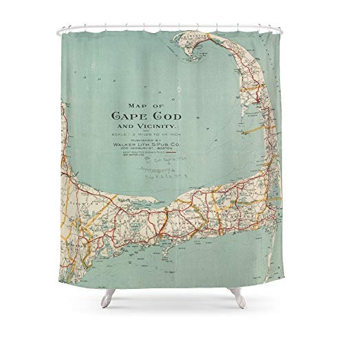 (fengyijiating Vintage Map of Cape Cod (1917) Shower Curtain 60
