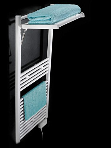 Koh-I-Noor 44025B - Radiador de agua, calienta toallas y secador de ropa con 1 estante de difusor extensible MOBILE Eléctrico. Acabado blanco.