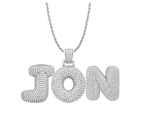 (Antybaby Hip Hop Rapper Pendant Necklace Bling Iced Out Chains for Men Women Custom Initial Bubble Letter Chain Name Jewelry Necklace- Personalized with Any Letters &)