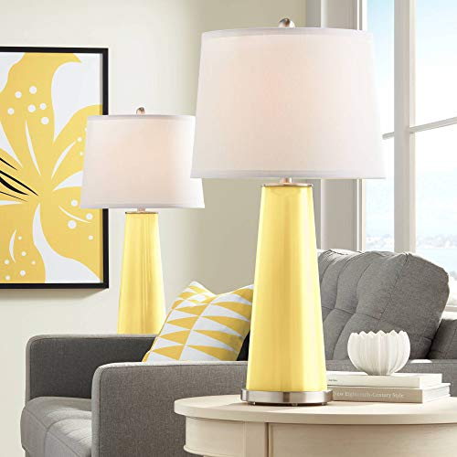 (Leo Modern Table Lamps Set of 2 Daffodil Yellow Glass Tapered Column Plain White Drum Shade for Living Room Family Bedroom - Color + Plus)