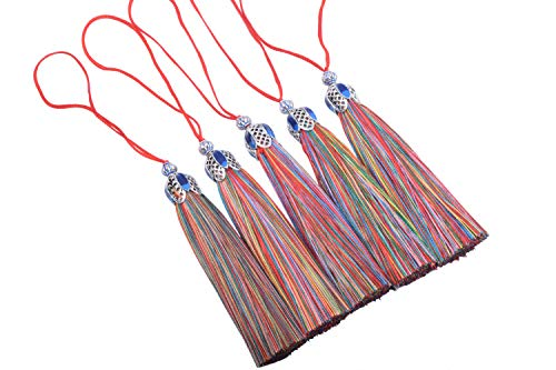 KONMAY 10PCS 8.5cm(3.4) Rainbow Craft Tassels with Hollowed Antique Silver Caps and Hanging Loops for Jewelry Making, Crafts Designs, Decorations