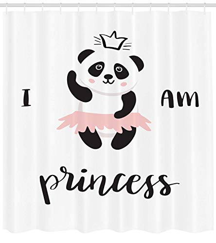 Nyngei I am a Princess Shower Curtain Funny Ballerina Panda Bear Dancing in Pink Skirt Baby Kids Fabric Bathroom Decor Set with Hooks 70.8x70.8in Grey Rose