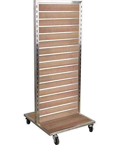 AMKO SM1 2 Sided Slat Wall Merchandiser 1 Panel, Satin Nickel Frame, Aluminum Inserts, 3'' Heavy Duty Casters, Maple Slat Wall Backing, Front & Back Display, Rolling Wheels,