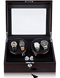 CRITIRON 4+6 Automatic Watch Winder Luxury Storage Case Rotating Display Box, Wood Shell with Piano Paint (Black)