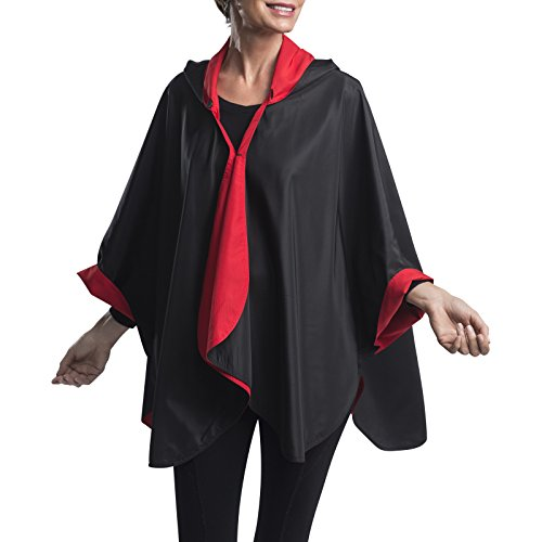 RainCaper Rain Poncho for Women - Reversible Rainproof Hooded Cape in Gorgeous Ultrasoft Colors (Black & Red) ()