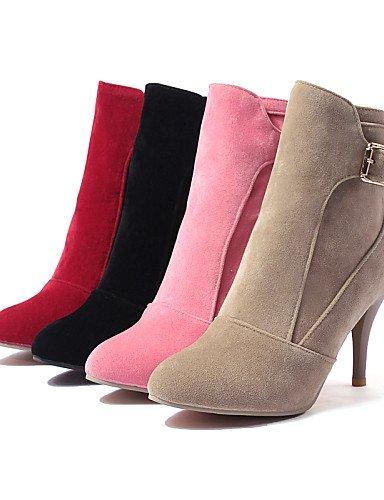 Eu36 Rojo Pink Zapatos Xzz Stiletto Beige Rosa Vestido us6 Eu39 Uk4 De Punta Cn39 Mujer Tacón Cn36 Vellón Pink A Botas La Moda Casual us8 Uk6 Redonda Negro agqd4gw