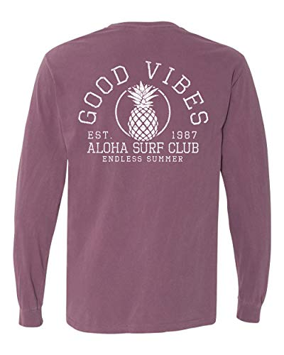(Nautical Unisex T-Shirt Short Sleeve Mens Woman's Long Sleeve Printed Stay Salty Good Vibes Pineapple Design Top Tee (Berry, Small))