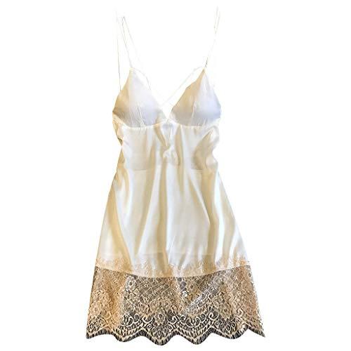 Psunrise Womens Smooth Soft Satin Lace Patchwork V Neck Criss Cross Strap Sling Sleepwear Lingerie Nightdress Underwear(XL, White)