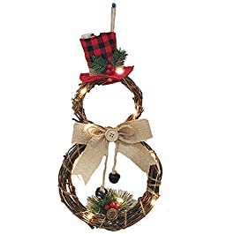 Funpa Christmas Wreath Fashion Plant Rattan Creative LED Light Hanging Wreath Xmas Decor