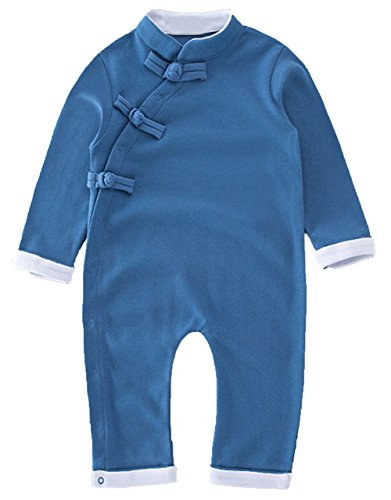 StylesILove Cute Chinese Style Chirpaur Baby Boy Romper (70/6-12 Months, Blue)