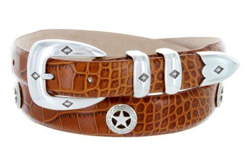 (Presidential Silver Star Western Golf Concho Italian Calfskin Leather Dress Belt (38 Alligator Tan))