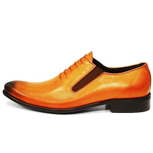 Modello Orino - Cuero Italiano Hecho A Mano Hombre Piel Naranja Pintado A Mano Zapatos Oxfords - Cuero Cuero pintado a mano - Ponerse