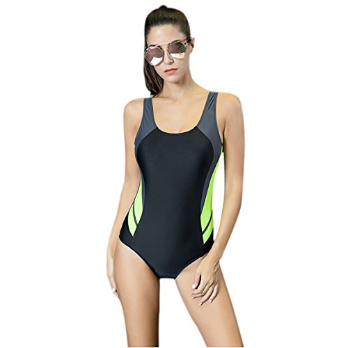 Young17 Sexy Hit Color Women Backless Splice One Piece Athletic Sports Swimsuit