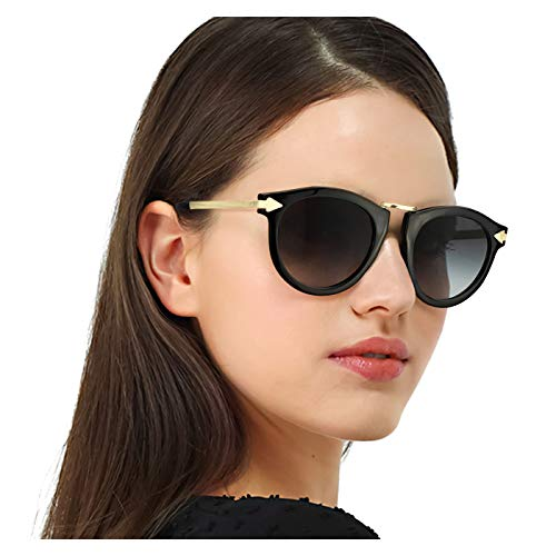 (Enafad Womens Fashion Round Polarized Sunglasses Vintage Eyewear Arrow Temple UV Protection for Driving Cycling (Black Frame/Grey Polarized Lens))
