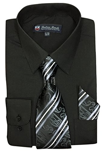 Fortino Landi Men's Long Sleeve Dress Shirt With Matching Tie And Handkerchief (18-18.5