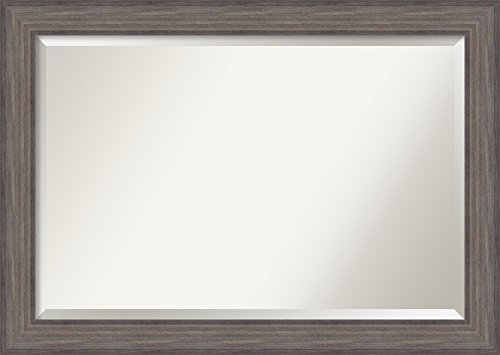 Amanti Art Framed Vanity Mirror | Bathroom Mirrors for Wall | Country - Weathered Frame Wood Mirrors Bathroom