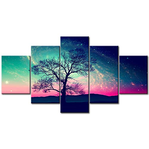 (5 Piece Canvas Wall Art Red Alien Landscape with Alone Tree over the Night Sky with Stars Modern Home Decor Decals Prints Artwork Paintings Stretched and Framed Ready to Hang)
