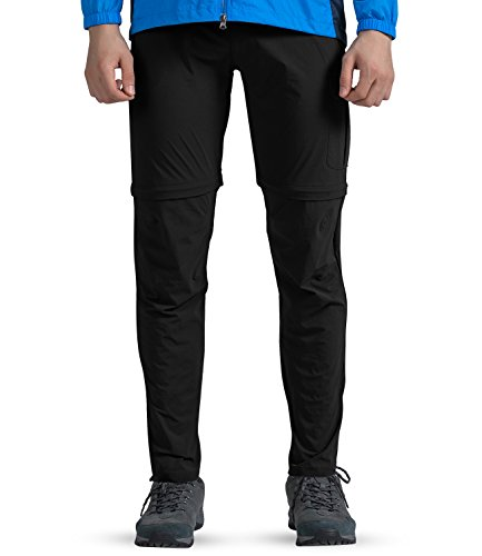 (Outto Men's Water Repellent Convertible Cargo Hiking Pants Belted (34W X 31L,1617 Black))