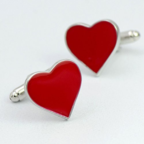 ENVIDIA Red Heart-Shaped Valentine Love Cufflinks Wedding Party Gifts With Box by ENVIDIA (Image #3)