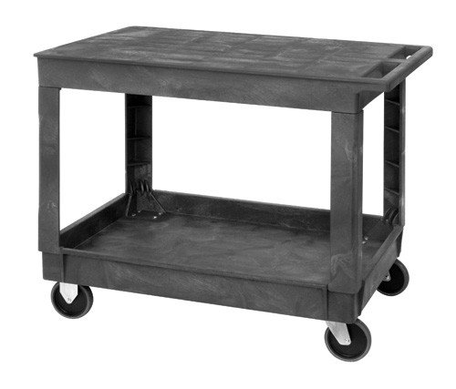 - Quantum PFTC4026-33 Flat Top 2-Shelf Plastic Cart, 40-Inch by 26-Inch by 33-Inch, Gray