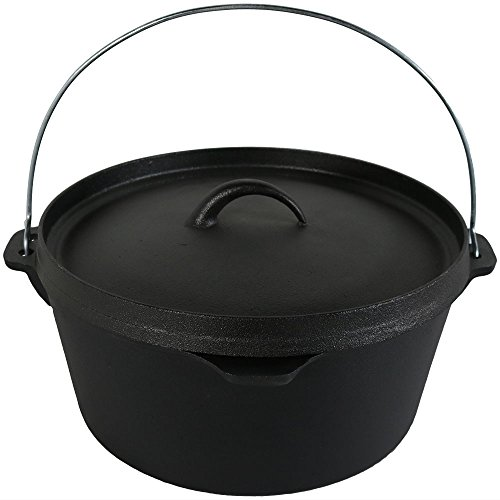 Sunnydaze Cast Iron Dutch Oven, Pre-Seasoned, 12-Inch
