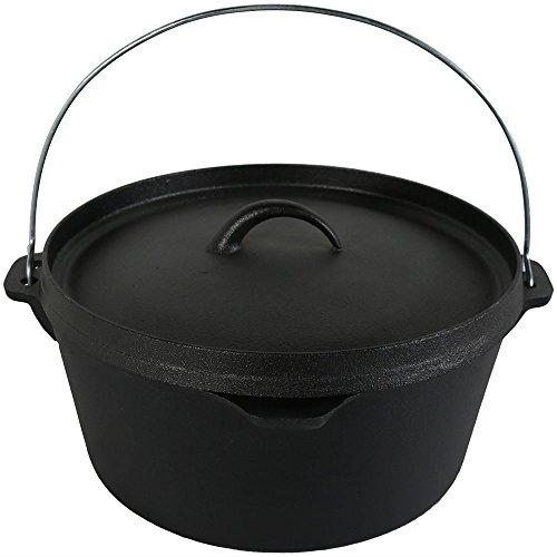 - Sunnydaze Large Cast Iron Deep Dutch Oven Pot with Lid and Handle, Pre-Seasoned Cookware, 8-Quart, Black