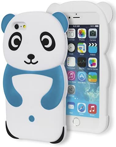 iPhone 6 Plus Case, Bastex 3D Soft Silicone Protective Blue and White Happy Panda Design Case Cover for Apple iPhone 6, 5.5 Plus