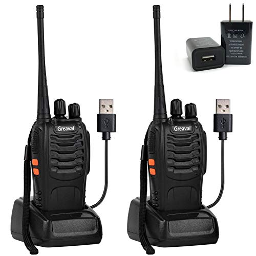 Greaval Rechargeable Long Range Walkie Talkies UHF 400-470MHz 16 Channels FRS/GMRS 2 Way Radio (2 Pack) -