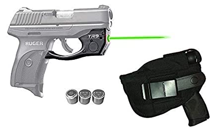 Laser Kit for Ruger LC9, LC9s, LC380, EC9s w/LASERPRO Holster,  Touch-Activated ArmaLaser TR9-G Green Laser Sight & 2 Extra Batteries