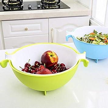 Honrik Panier d/évacuation Multifonction 2 en 1 Passoire de Cuisine /à Double Couche rotative pour l/égumes Fruits et l/égumes
