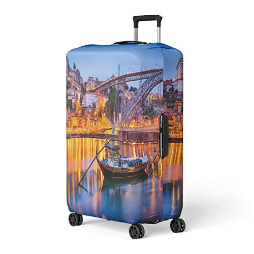 Semtomn Luggage Cover Night Porto Portugal Old Town Skyline Douro River Oporto Travel Suitcase Cover Protector Baggage Case Fits 22-24 Inch ()
